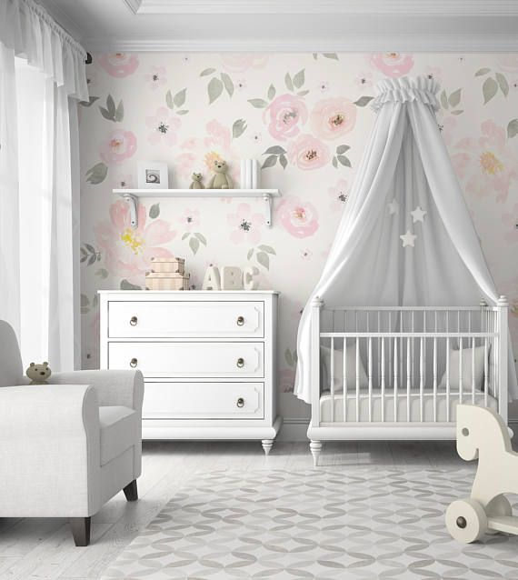 Amara Floral Wallpaper Mural || Watercolor Floral || Traditional or Removable Ships FREE