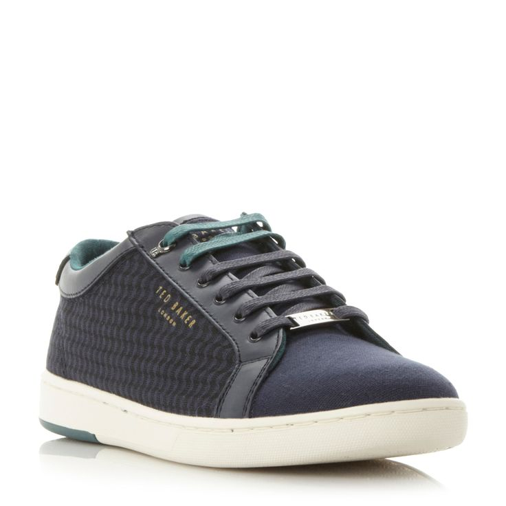 Ted Baker Keeran print detail lace up trainer, Navy