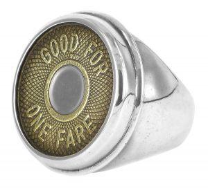 NYC bi-metal vintage subway token signet ring in sterling silver - $495