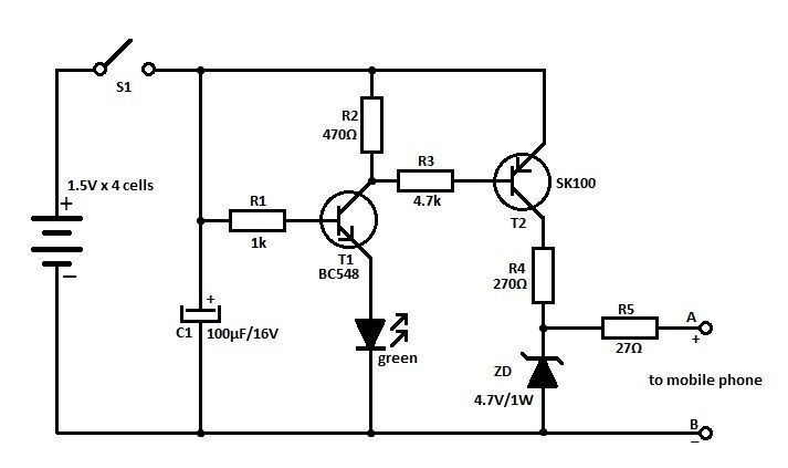 mobile  u202a  u200ephonecharger u202c circuit is a device used to put energy into a secondary cell or