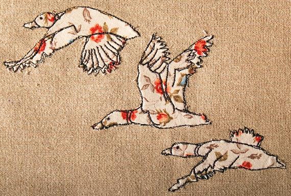 Original framed mixed media textile art Three Flying Ducks by KatieEssam, £60.00