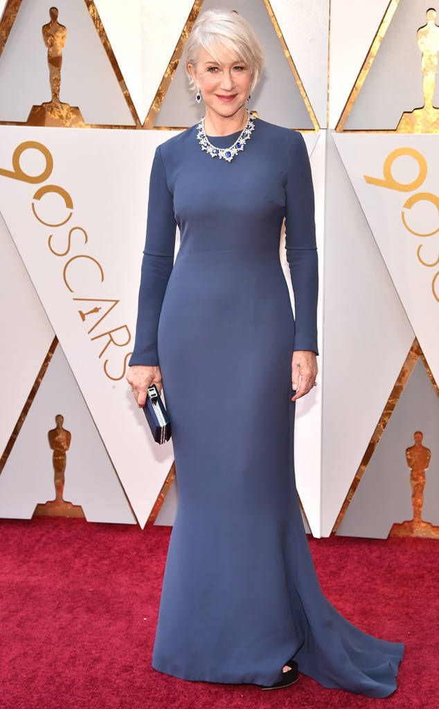 Helen Mirren from Standout Style Moments From Oscars 2018  Dame Mirren never gets it wrong, especially when the navy dress is as simple and sophisticated as this.