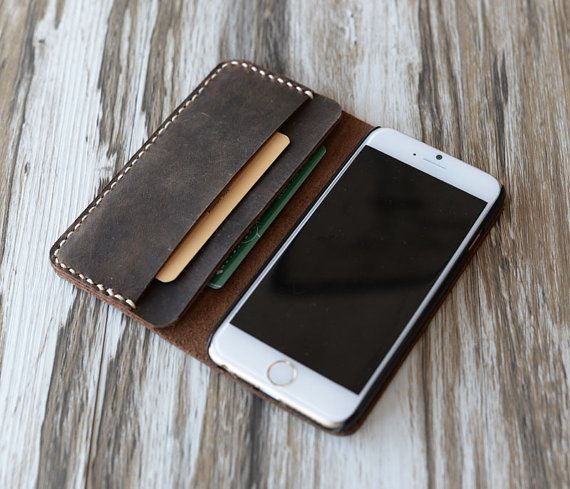 This Iphone 6 Wallet / Case is made from distressed leather and handstitched up by wax thread. It will be aged beautifully over time. It is sturdy,