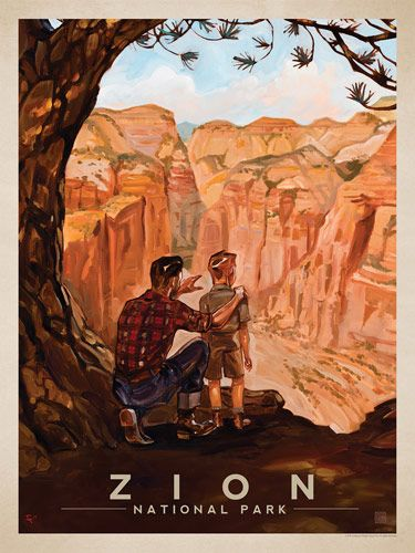 Zion National Park: View from the Top - Anderson Design Group has created an award-winning series of classic travel posters that celebrates the history and charm of America's greatest cities and national parks. Founder Joel Anderson directs a team of talented artists to keep the collection growing. This oil painting by Kai Carpenter celebrates the majestic grandeur of Zion National Park.