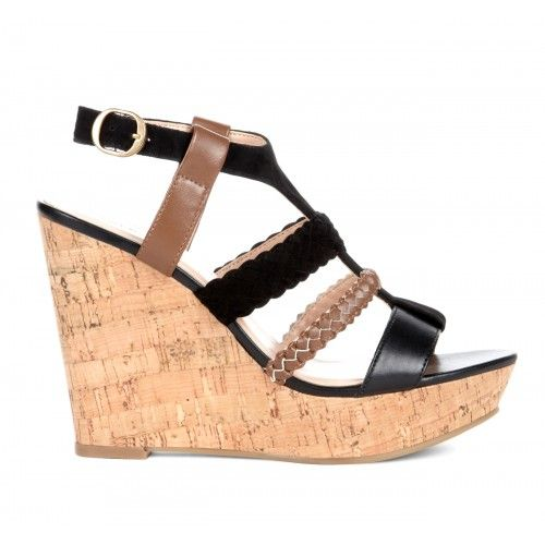 Serina cut out wedge - Black Whiskey