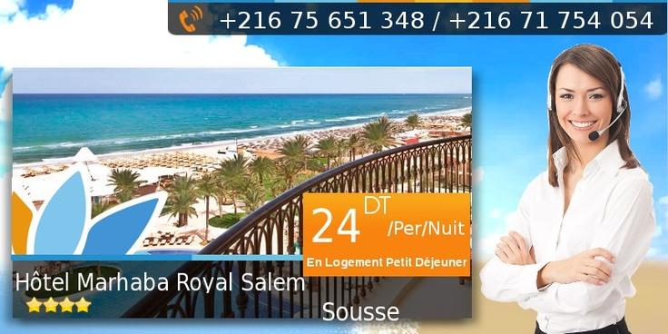 Agence de voyages Sweet Travel: Hôtel Sousse  Hôtel Marhaba Royal Salem 4*  À partir de 24.000 DT/Per/Nuit en Logement Petit Déjeuner  Le Marhaba Royal Salem est l'hôtel qu'il vous faut pour des vacances de rêve : flambant neuf, agréablement conçu et superbement décoré.