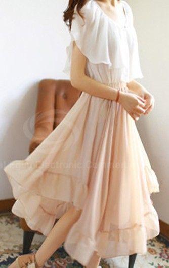Chiffon Skirt With Elastic Waist and Irregular Hem Design