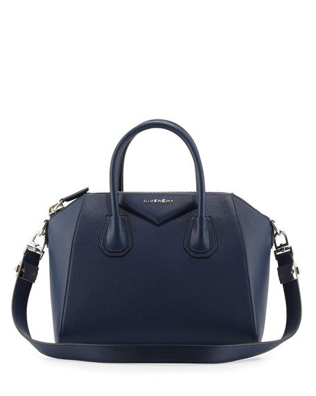 Antigona Small Goatskin Satchel Bag, Deep Blue