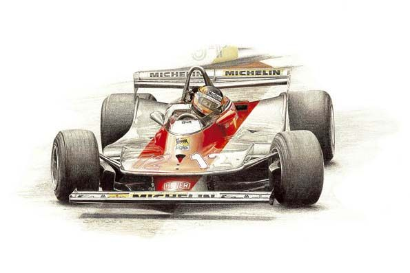 Elegant Ferrari 312 Gilles Villeneuve   Crayon U0026 Pencil By Carol Fairchild