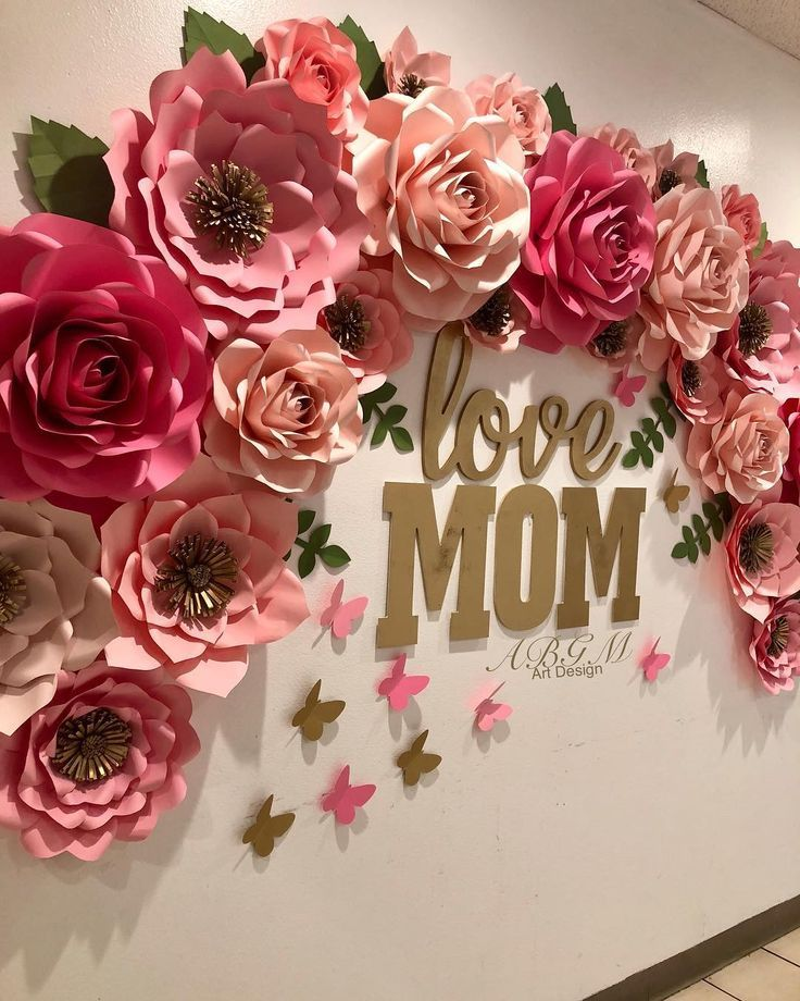 Gold And Pink Wall Decoration For Baby Shower Love Mom Pcla