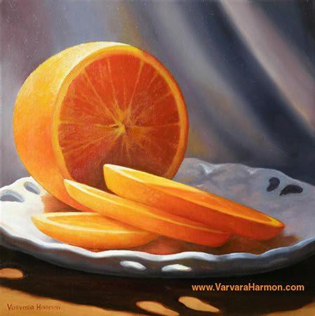 Orange Plate, Oil painting. Varvara Harmon Oil