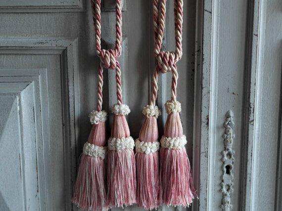 French curtain tiebacks salmon pink sublime pair of 1960's, vintage, curtain holdbacks, Tassels pretty Decor divine passementerie, pom poms.