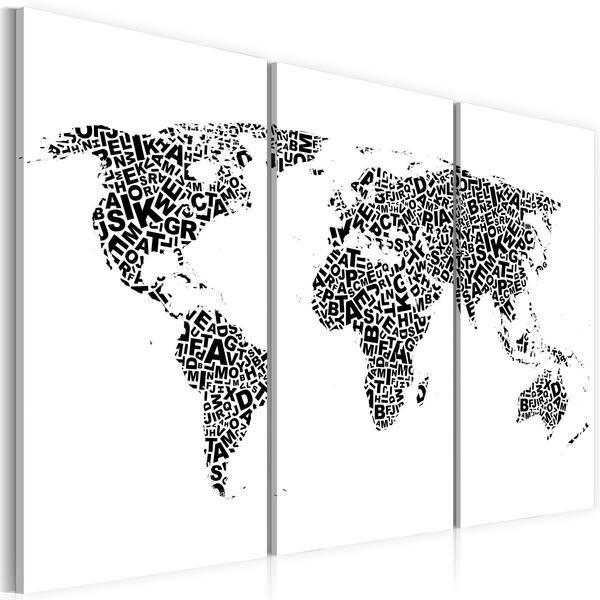 Quadro - Mappa del mondo: alfabeto (trittico)
