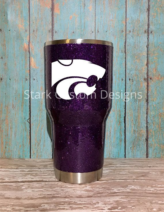 Kansas State University K-State Wildcats Inspired Glitter Tumbler - Yeti, Rtic, or Ozark - 30 oz. or 20 oz. (sealed decal)