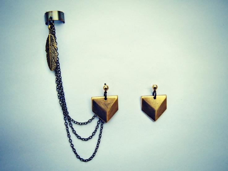 ear cuff with chevron earrings, feather ear cuff, chains ear cuff, geometric earrings. $25.00, via Etsy.