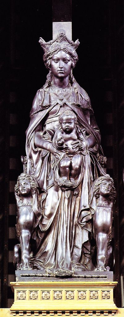 Donatello ~ Madonna with the Child ~ c.1448 ~ Bronze ~ Basilica di Sant'Antonio, Padua.Donato di Niccolò di Betto Bardi (c.1386-1466), better known as Donatello, was an early Renaissance sculptor from Florence.He is, in part, known for his work in bas-relief, a form of shallow relief sculpture that, in Donatello's case, incorporated significant 15th-century developments in perspectival illusionism.