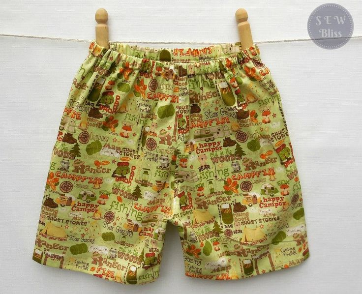 Handmade by Sew Bliss Boys camping themed shorts.