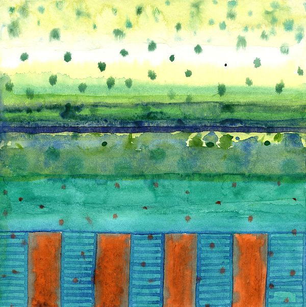 Orange Posts With Landscape by Heidi Capitaine #abstrat #landscape #dots #orange #turquoise #art #fineart #watercolor #painting
