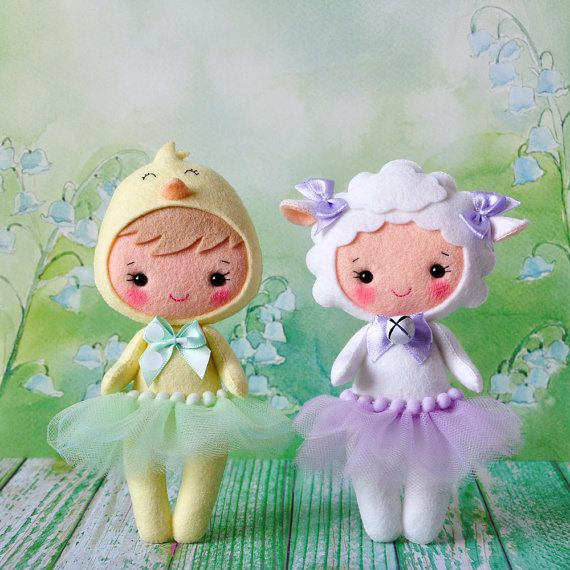 Felt sheep doll Cute girl costume sheep Easter sheep by TiTics