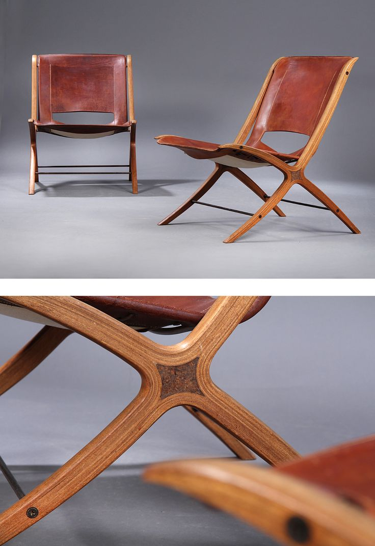 'X-Chair' armchairs with cross frame laminated, molded mahogany with inlays of maple, seat and back stretched with patinated leather, Model 6103. Designed 1958. Produced by Fritz Hansen. (Photo and text: lauritz.com)