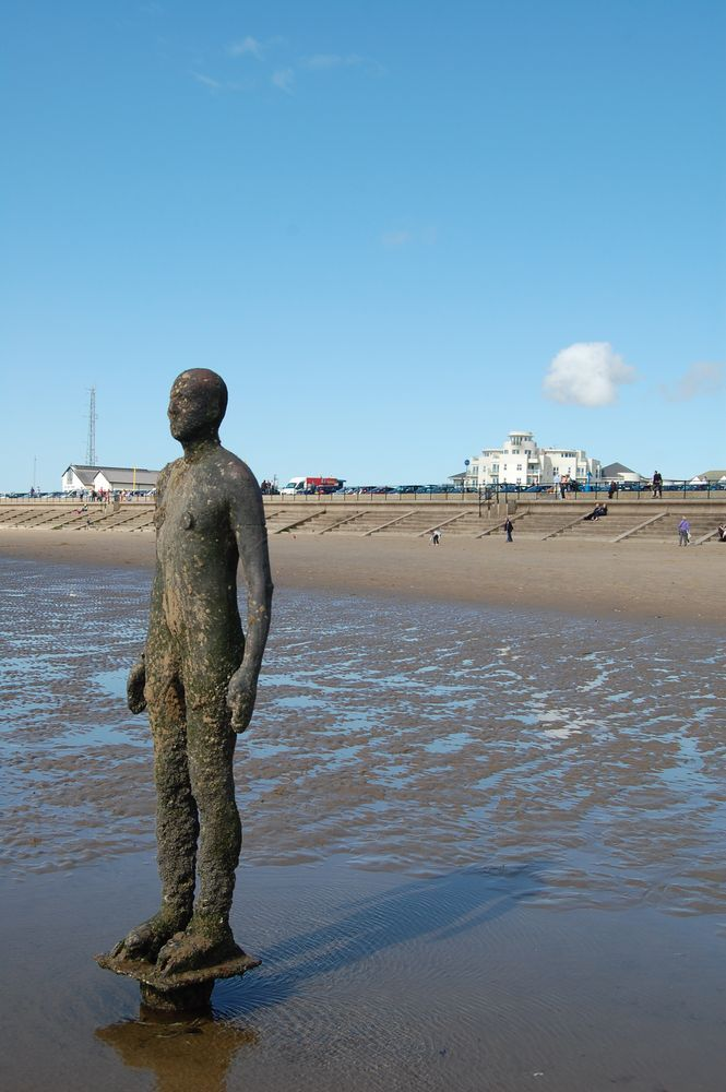 One of the Iron Men at Crosby Beach, Liverpool, England (It was more fun takng your picture with them)