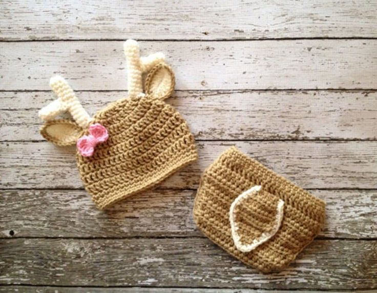 """"""" It's A Doe """" Deer Baby Hat Diaper Cover Pink Bow Budding Antlers Newborn Crochet Baby Photo Prop Set 1st Photo Christmas Cards Birth Announcement"""