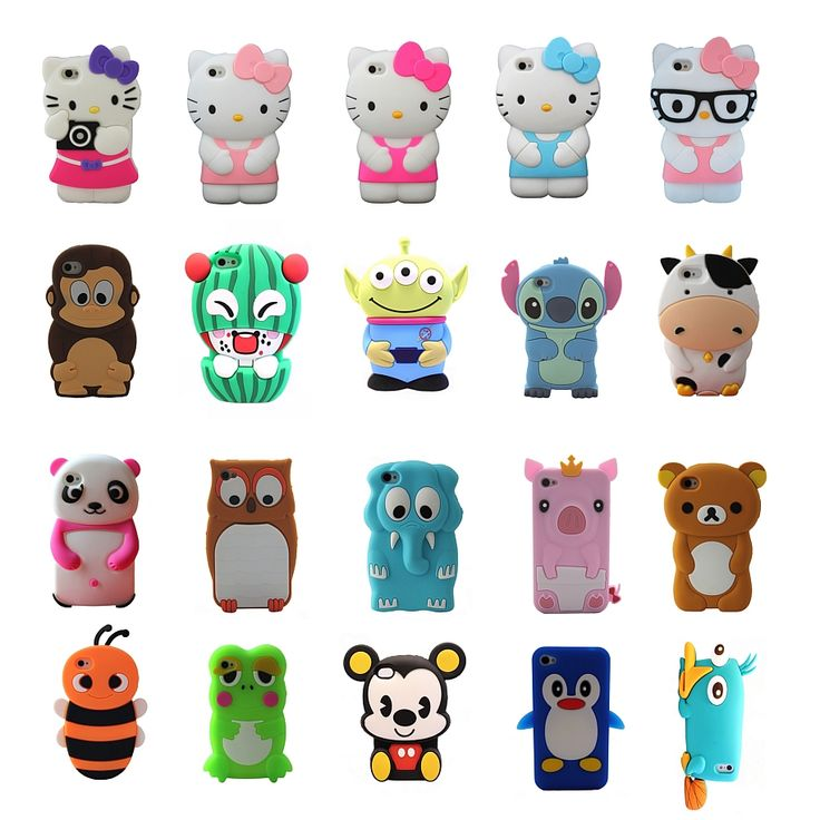Silicone cartoon animals 3d silicone case cover tpu gel rubber hello kitty lilo stitch penguin owl