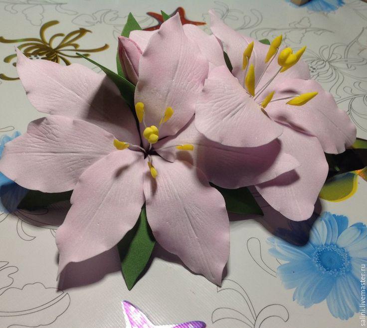 """Купить Заколка-зажим из фоамирана""""Лилии"""" - бледно-розовый, фоамиран, фоам, цветы, цветы ручной работы"""