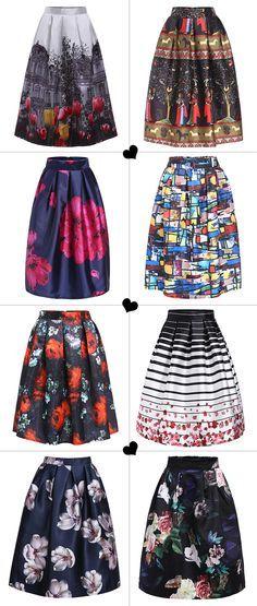 Women's Fashion Print Pleated Skirt