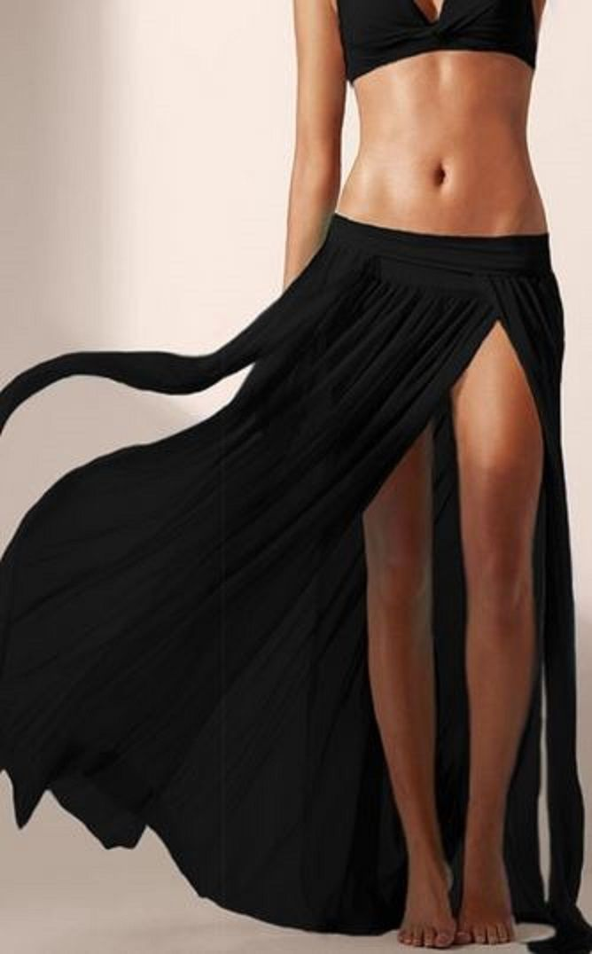 LOVE this Beach Skirt! Sheer Black Voile Solid Color Maxi Skirt