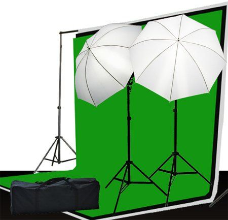 """Fancierstudio LS69BWG Photo Video Lighting Kit 3 Muslin Backdrop Background Stand And Lighting Kit Fancierstudio http://smile.amazon.com/dp/B004TSBZ5S/ref=cm_sw_r_pi_dp_Vi3Jub0C7YCF1 Includes: 2 x7 feet light stand for lights 2 x light adapter umbrella holders 2 x 45wattperfect day light bulbs 5500K = 400Watt /2 x 32"""" shoot through umbrellas 3 Muslins 6' x 9' Black, White, Green are also include 1 complete background support system with Case  Cost: $101.99 with Prime Shipping"""
