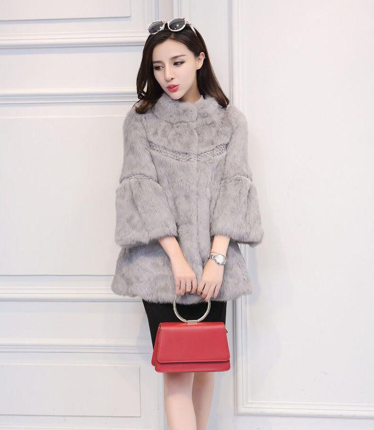 New Real 100% Rabbit Fur Women Coat Jacket Overcoat Garment Long #AUMOUNTAIN #COAT #Outdoor