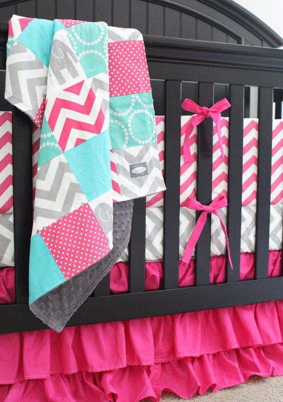 Custom Crib bedding Hot Pink Grey Elephant Teal by GiggleSixBaby