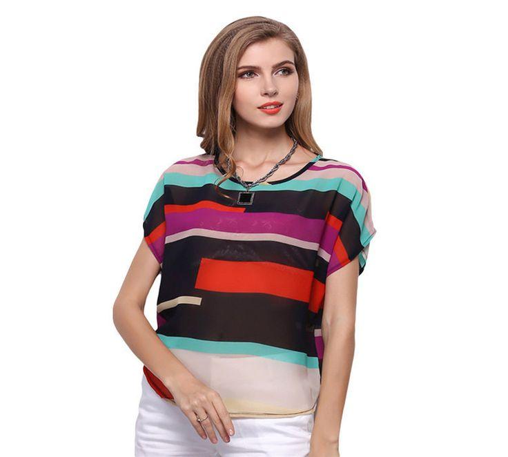 Casual Short Sleeve O-neck Chiffon Shirt Striped Women Tops