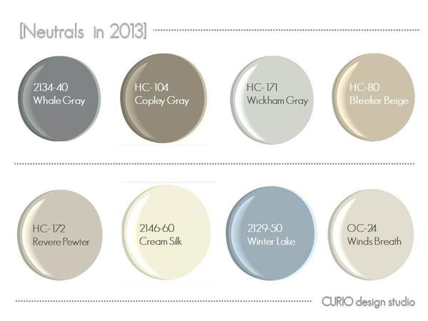 Benjamin Moore Neutrals. Revere Pewter as the primary color throughout the house.