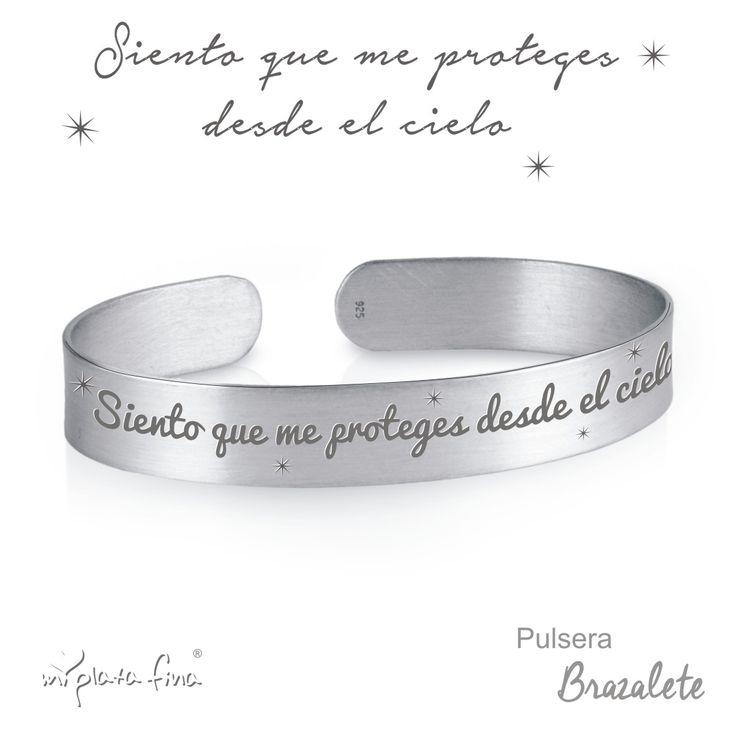 BRAZALETE de plata de ley, grabado personalizado con el mensaje que tu desees....  #joyasquehablandeti #miplatafina