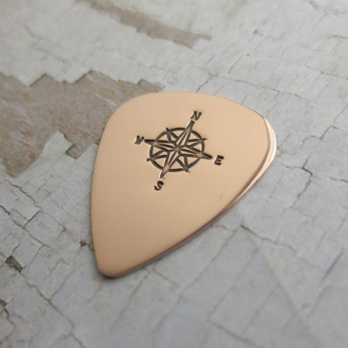Copper Guitar Pick Engraved Compass Rose