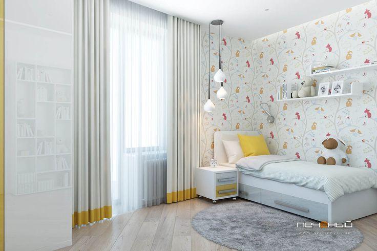 Дизайн интерьера детской комнаты.  Современный стиль. Цвета: белый, жёлтый, серый.