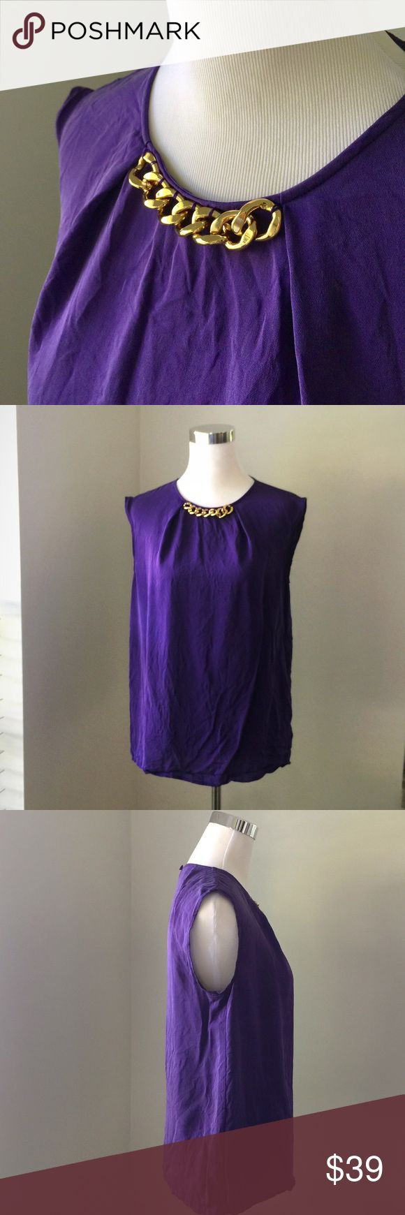 MK Amethyst & Gold Blouse A thick gold chain accents the neck line of this 💯 silk vibrant purple Michael Kors blouse. Excellent for work or play😉 and in excellent used condition. Michael Kors Tops