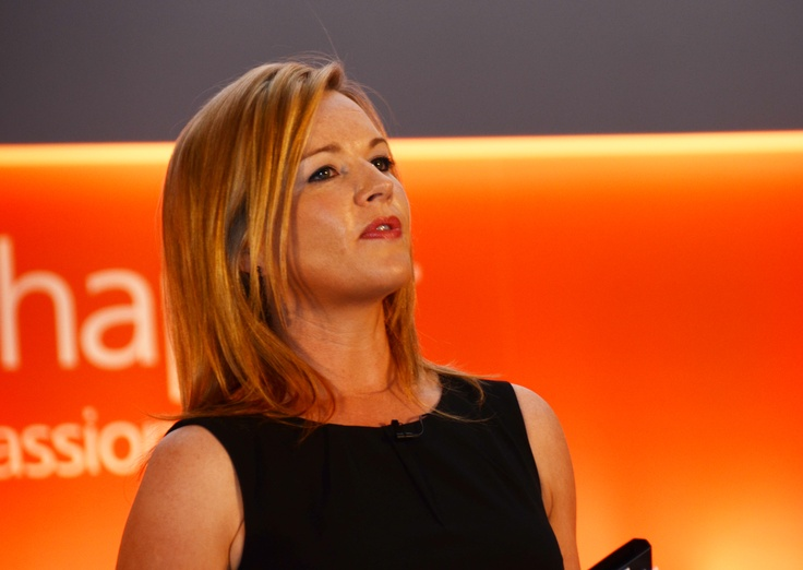 Claire Byrne as MC in O'Reilly Hall