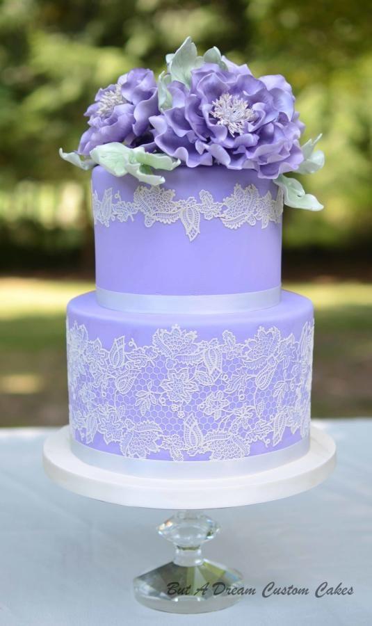 Purple peony wedding cake by Elisabeth Palatiello