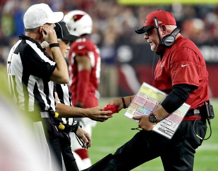 Seahawks vs. Cardinals:    October 24, 2016   -  06-06, Tie  -     Arizona Cardinals head coach Bruce Arians hands the referees the red flag during the first half of a football game against the Seattle Seahawks, Sunday, Oct. 23, 2016, in Glendale, Ariz.
