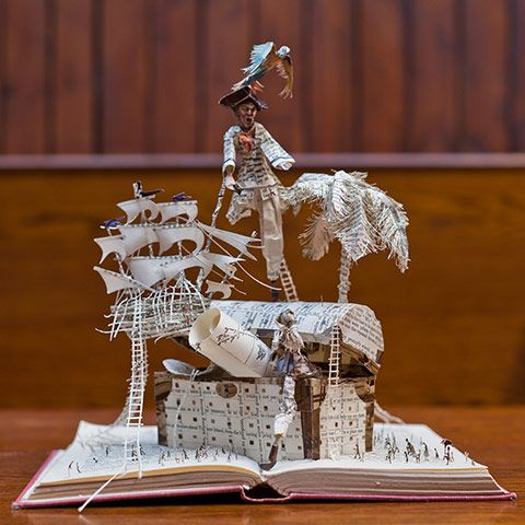 Scottish book artist strikes again! Book sculpture: Robert Louis Stevenson's Treasure Island