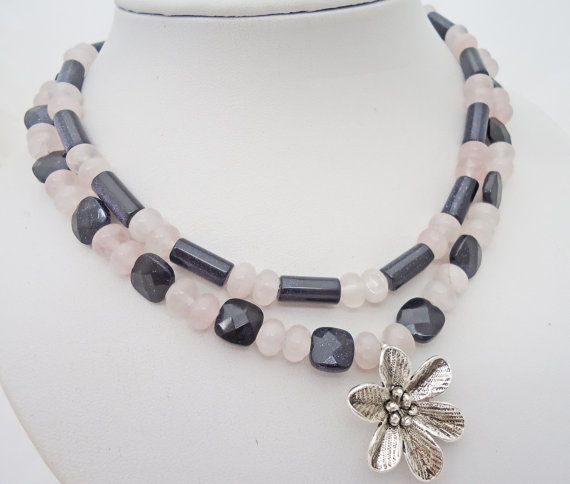 Rose Quartz and Blue Gold Sand Necklace Duble by evecollection