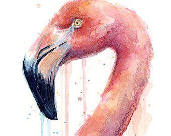 Flamingo aquarel schilderij Art Print Giclee door OlechkaDesign