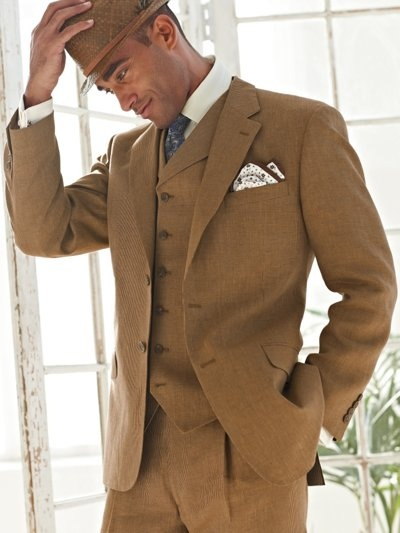 Linen Three-Piece Suit from Paul Fredrick | Suits & Vests