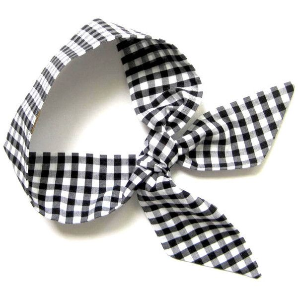 Gingham Scarf, Short Skinny Scarf, Neck Scarf, Purse Scarf, Choker... (780 PHP) ❤ liked on Polyvore featuring accessories, scarves, black and white scarves, short scarves, tie scarves and black and white shawl