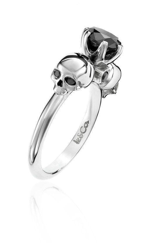 1ct Black Diamond & Silver Skull Ring                                                                                                                                                                                 More