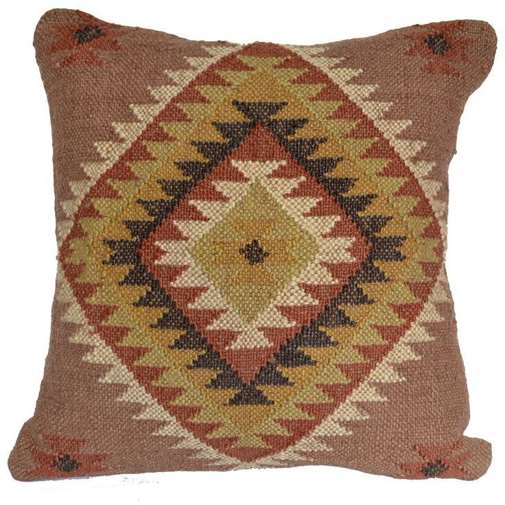 "16"" Wool Jute and Cotton mix handmade Kilim Cushion Cover"