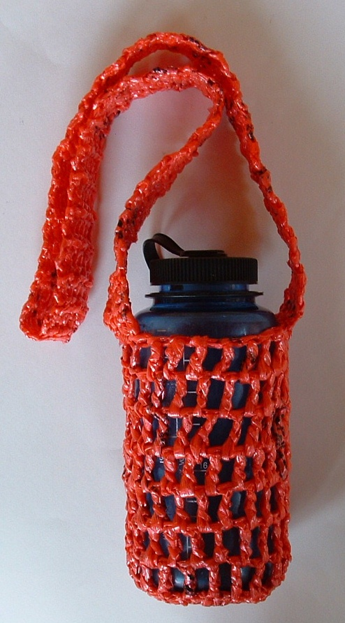 Handy And Unique Water Bottle Holder Sling Made From Red Recycled Plastic Bags